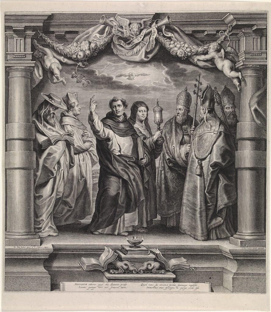 Kerkvaders heiligen Ambrosius, Hieronymus, Augustinus en Georgius de Grote en heilige Clara
