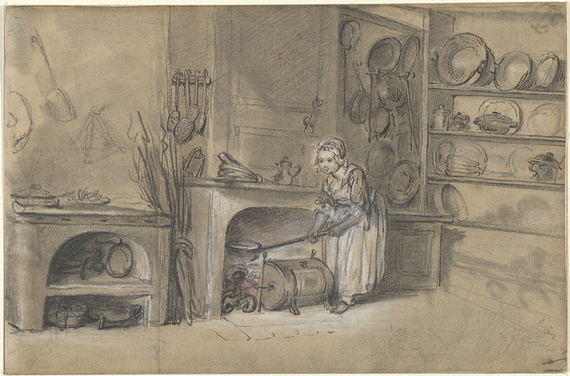 Kitchen-sene with a Girl frying Pancakes