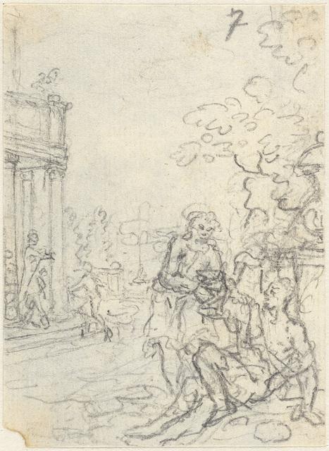Klassicistisch tafereel, waarbij een op de grond zittende man geholpen wordt