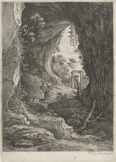 Kluizenaar tussen overhangende rotsen