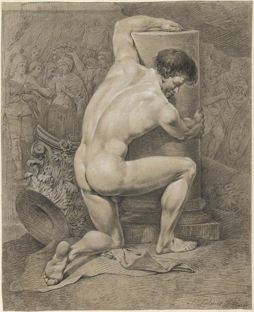Knielend mannelijk naakt, naar rechts de armen om een zuil