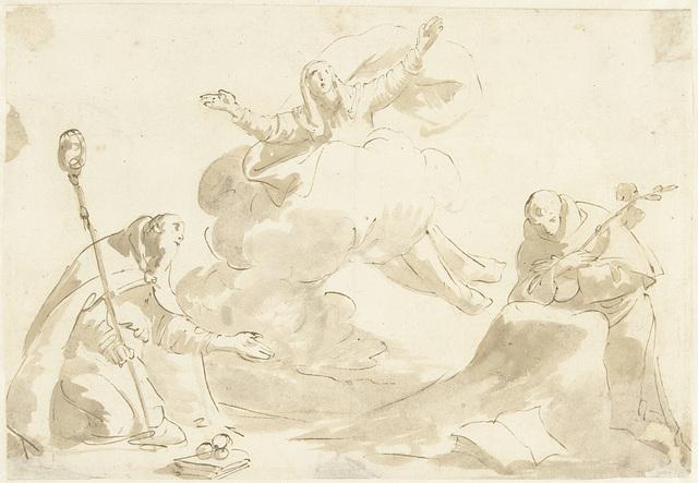 Knielende heiligen Nicolaas en Dominicus bij een ten hemel varende Maria