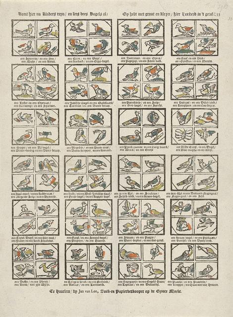 Komt hier nu Kinders reyn / en lees dees Vogels al / Gy hebt met groot en kleyn / hier honderd in 't getal.