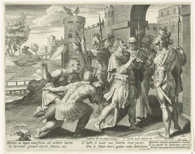 Koning David leert van de dood van Absalom