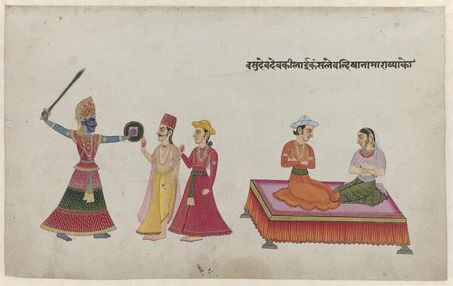 Koning Kamsa, Vasudeva en Devaki en twee andere figuren