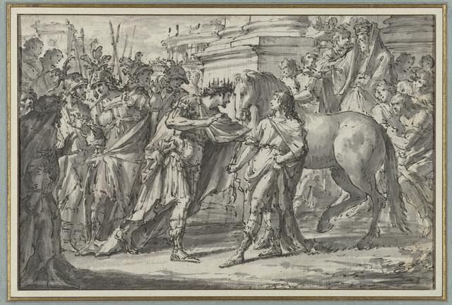 Koning Philippus II van Macedonië schenkt zijn zoon Alexander het paard Bucephalus
