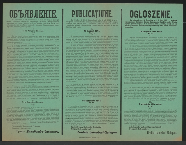 Kriegsrecht - Bekanntmachung - Czernowitz- Mehrsprachiges Plakat