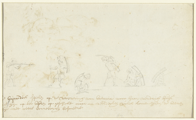 Krijgers en een man met een musket