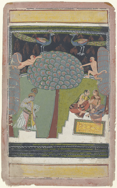 Krishna en twee vrouwen in een tuin met bomen, apen en pauwen