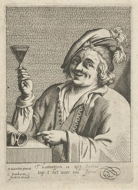 Lachende man met wijnglas en lege kan