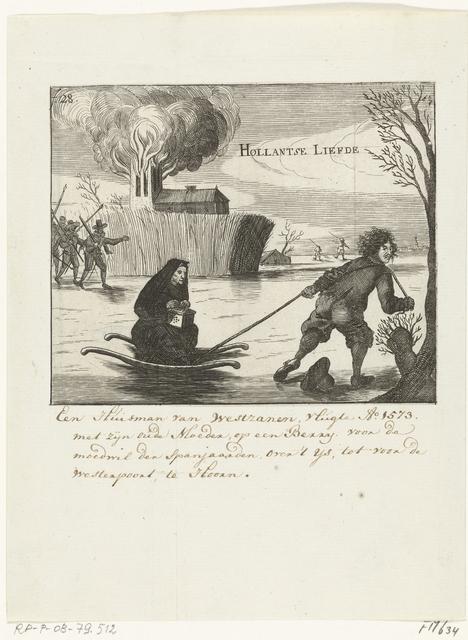 Lambert Melisz. vlucht met zijn moeder in een slee over het ijs, 1574