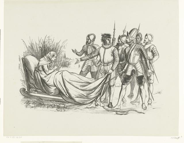 Lambert Melisz. vlucht met zijn moeder in een slee over het ijs naar Hoorn, 1574