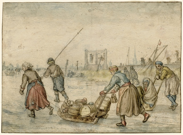 Landlieden met sleden op het ijs