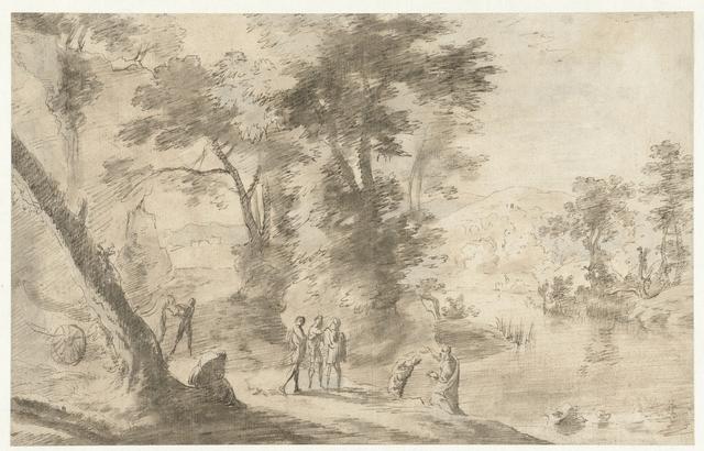 Landschap met de doop van de kamerling