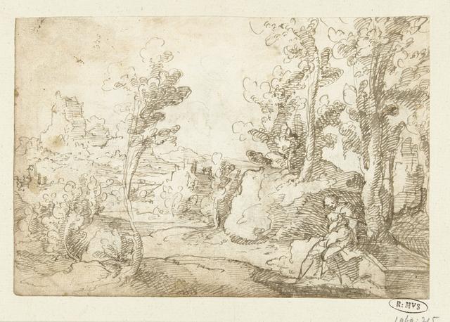 Landschap met een figuur zittend bij een waterput