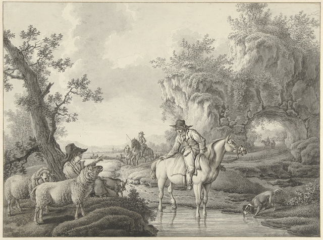 Landschap met een schaapherder en een ruiter bij een poel