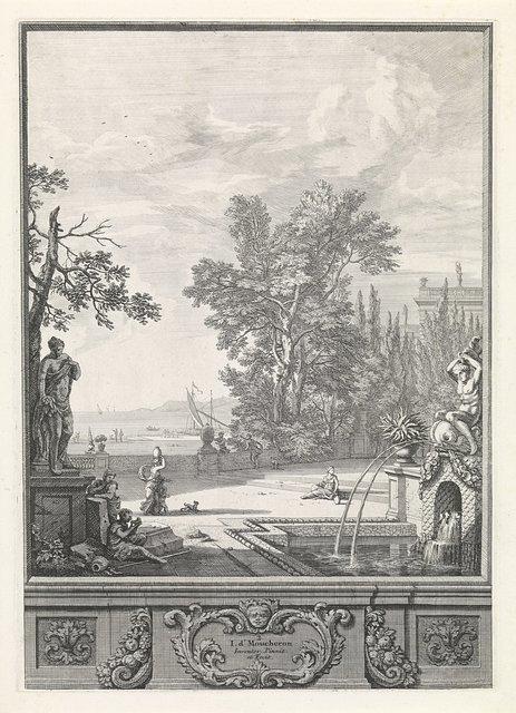 Landschap met een sculptuur, fontein en havengezicht