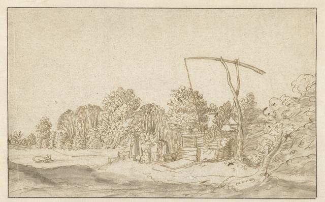 Landschap met een waterput