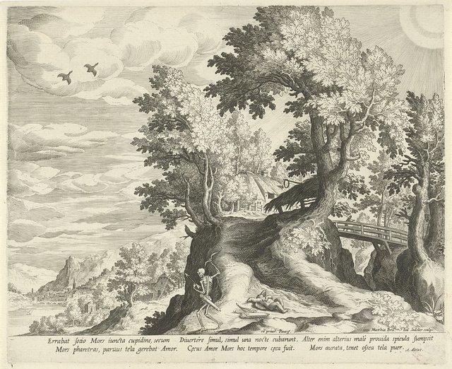 Landschap met het embleem over de Dood en Cupido