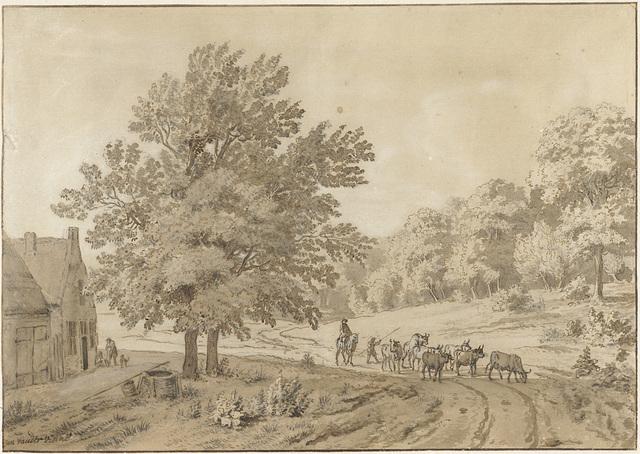 Landschap met koeien op een zandweg en een boerderij met waterput