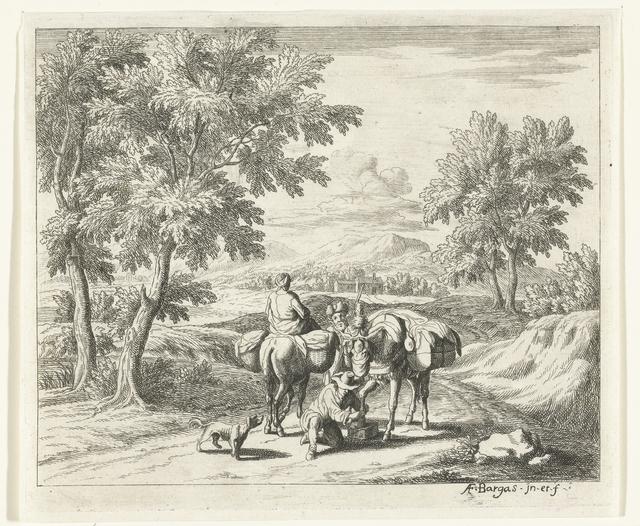 Landschap met muilezeldrijver die poot van ezel verzorgt