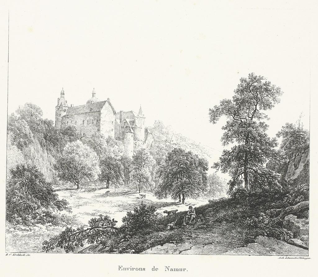 Landschap. Onder den r.o: B.C. Koekkoek inv et fec. Onder den r.o: autographie van I.A. Daiwaille
