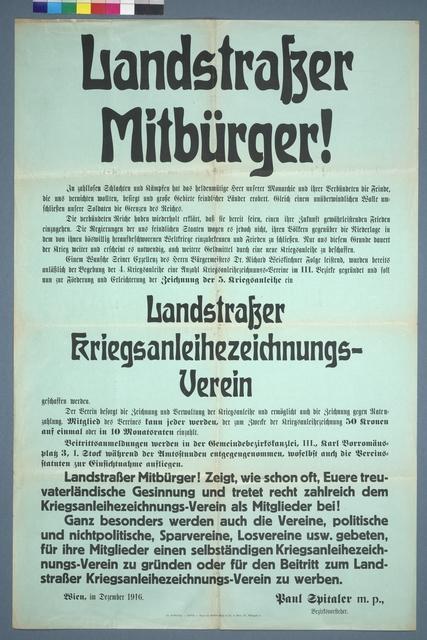 Landstraßer Mitbürger! - 5. Kriegsanleihe - Aufruf - Wien