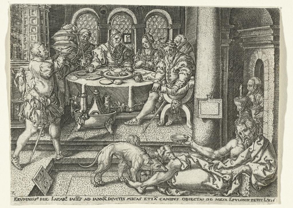 Lazarus bedelt aan de deur van de rijke man