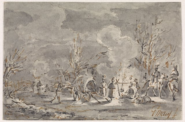 Legerplaats met soldaten rond kampvuur