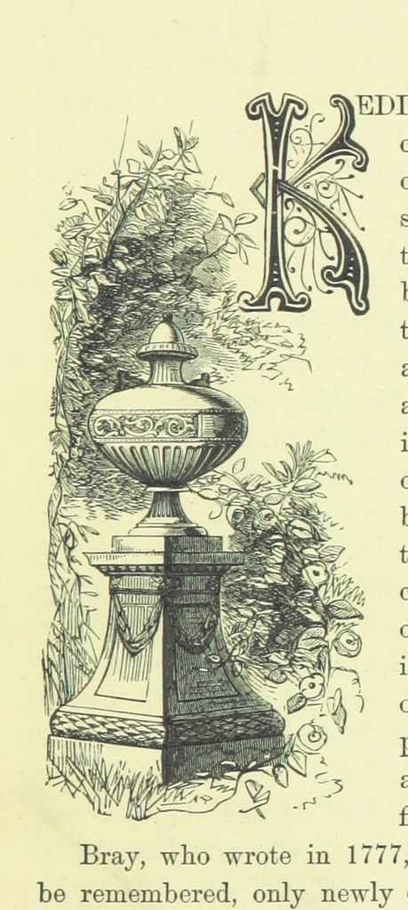 """letter K from """"The Stately Homes of England ... Illustrated with ... engravings on wood"""""""