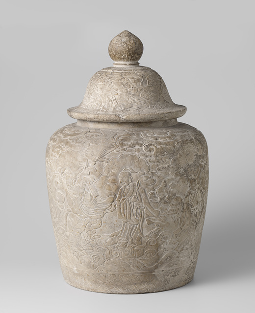 Lidded vase with the immortals