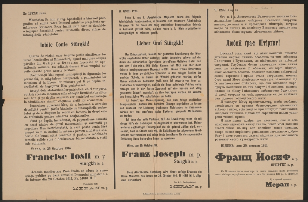 Lieber Graf Stürgkh! - Schreiben Kaiser Franz Josephs vom 25. Oktober 1914 - Mehrsprachiges Plakat - Iubite Conte Stürgkh!