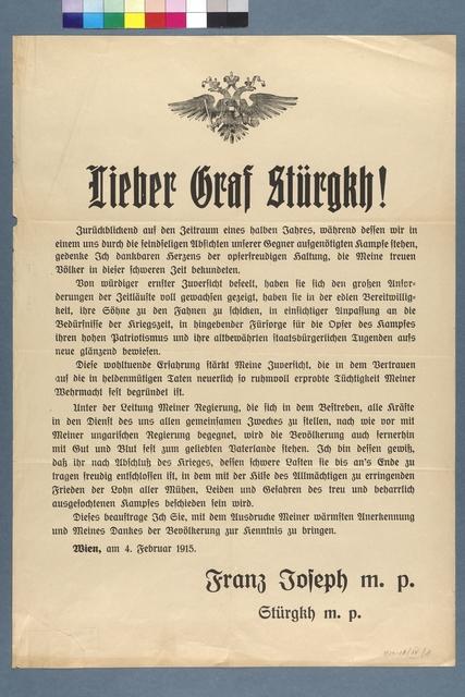 Lieber Graf Stürgkh! - Schreiben Kaiser Franz Josephs vom 4. Februar 1915