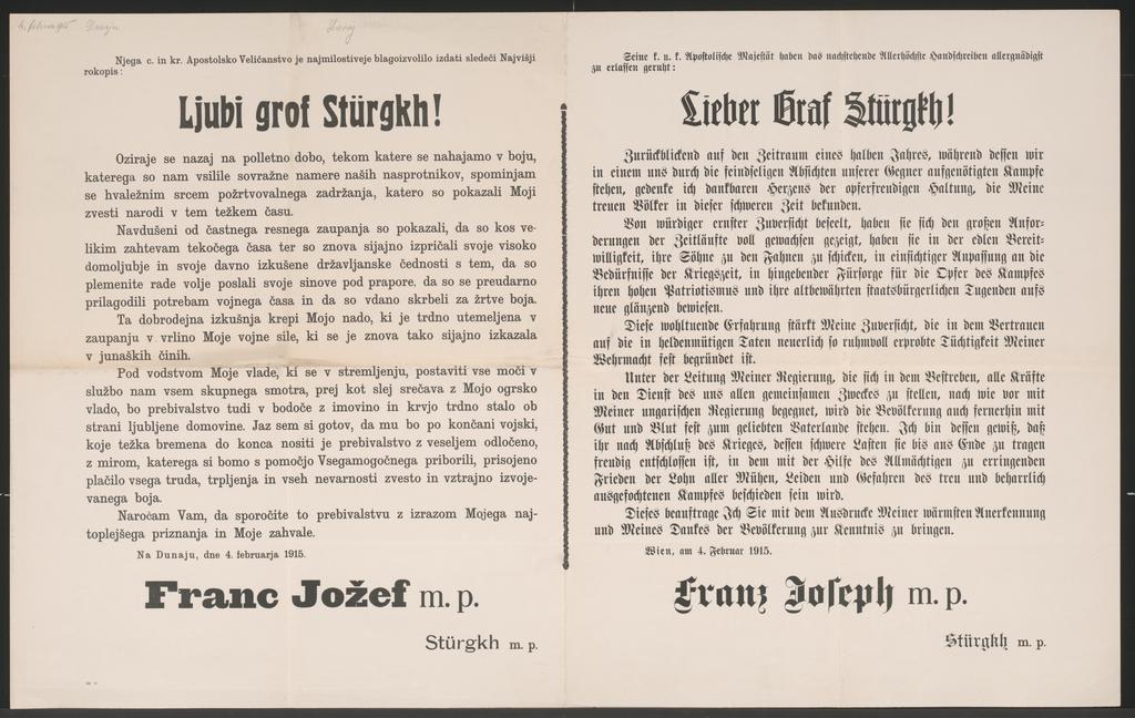 Lieber Graf Stürgkh! - Schreiben Kaiser Franz Josephs vom 4. Februar 1915 - Mehrsprachiges Plakat - Ljubi grof Stürgkh!