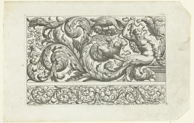 Man, adelaar en leeuw tussen bladranken
