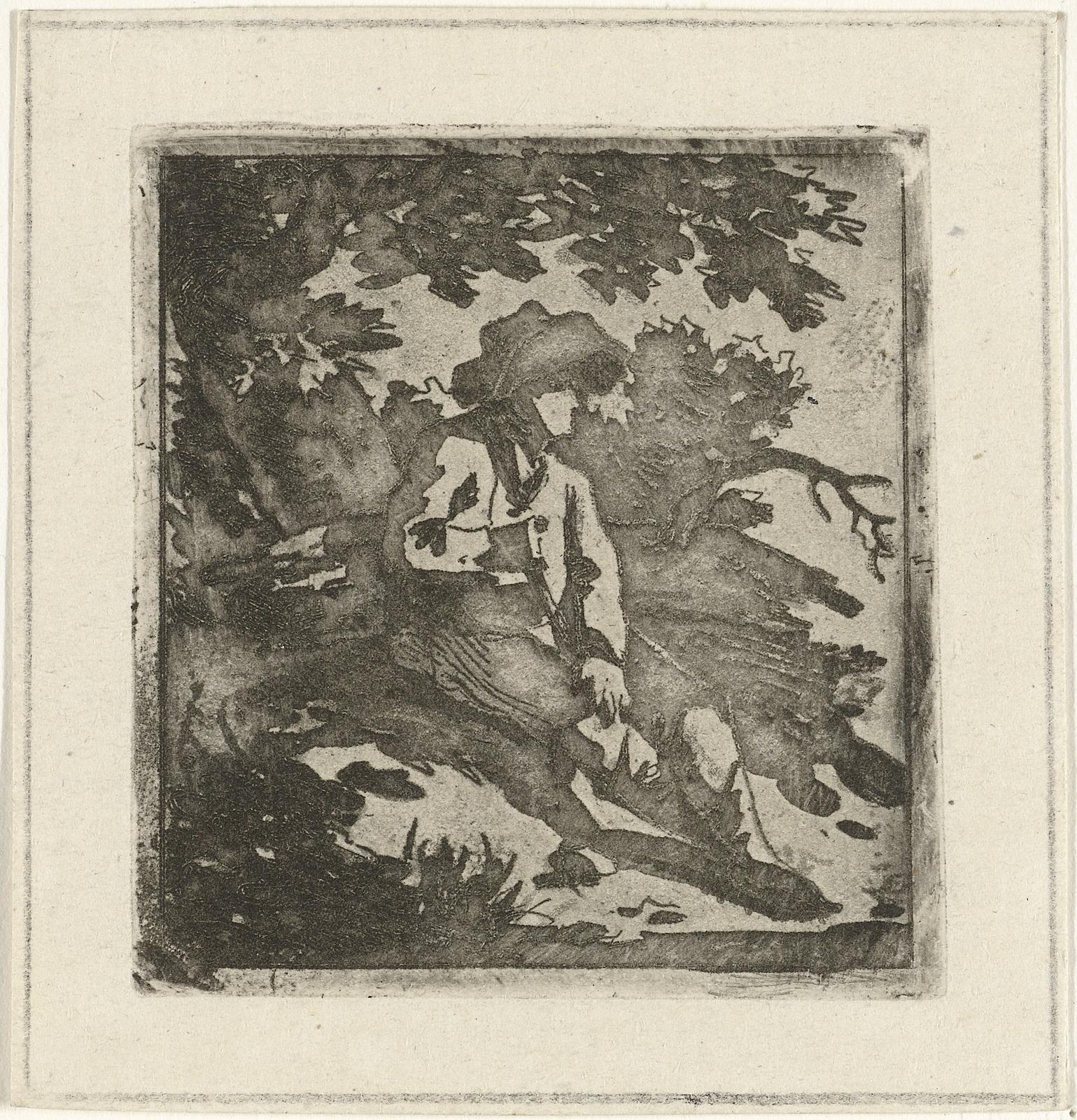 Man met hoed zittend onder een boom