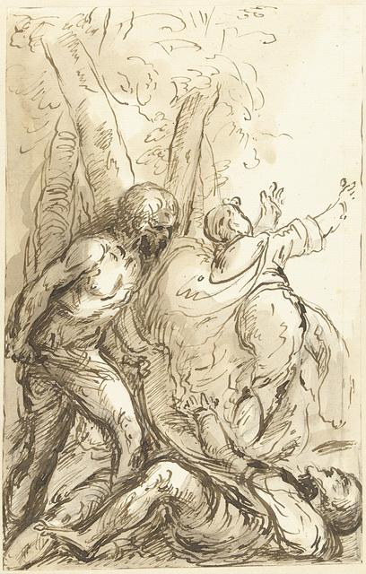 Man met zwaard valt een liggende man aan, terwijl een derde wegsnelt