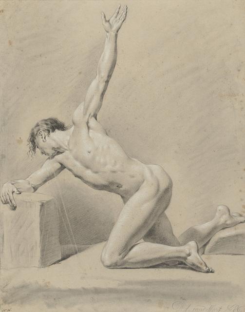 Mannelijk naakt, genield op de linkerknie, naar links