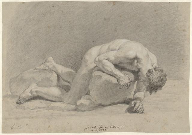 Mannelijk naakt, liggend op de buik over een rots