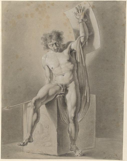 Mannelijk naakt, zittend op een blok, met speer en schild