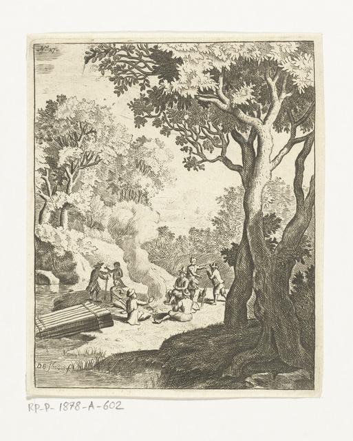 Mannen bij een kampvuur