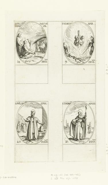 Maria en Jozef wachten op de geboorte van het Christuskind, Heilige Nemesius van Alexandrië, Heilige Philogonius van Antiochië, Heilige Thomas (18-21 december)
