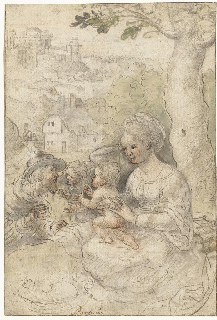 Maria met kind, Josef luistert naar een engel