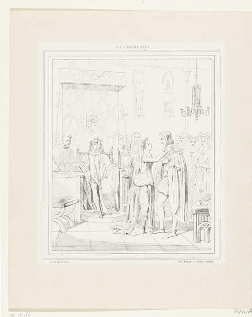 Maria van Bourgondië hangt de ketting met het Gulden Vlies om de hals van aartshertog Maximiliaan van Oostenrijk, 1477