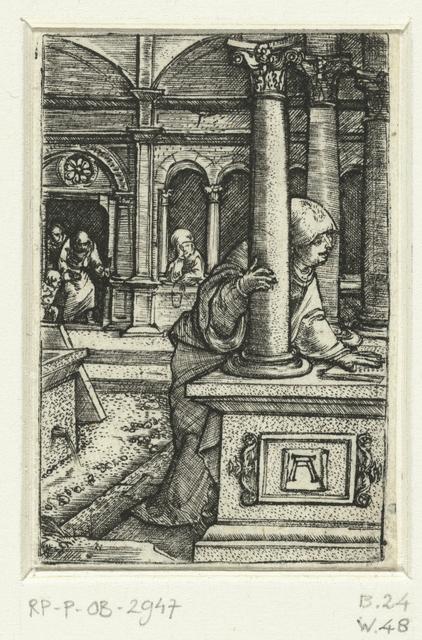 Maria zoekt naar haar zoon in de synagoge