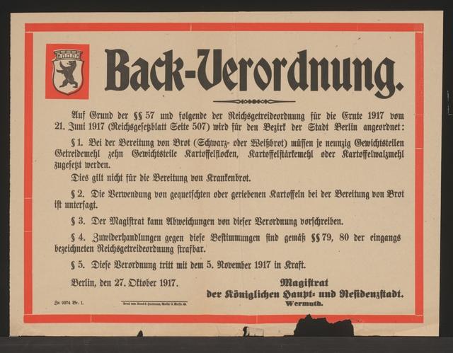 Maßnahmen zur Lebensmittelversorgung - Back-Verordnung. - Bezirk der Stadt Berlin - Berlin