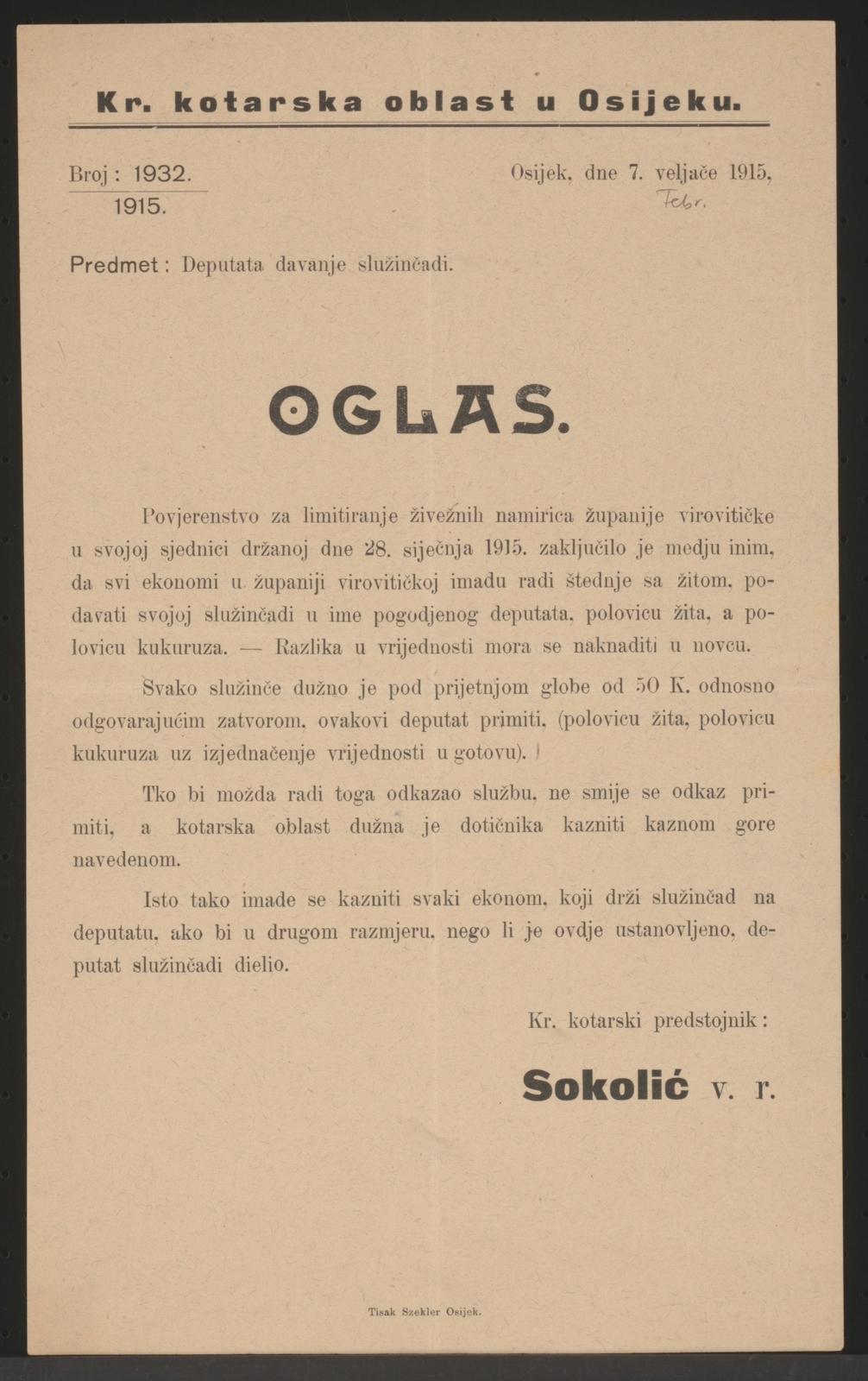 Maßnahmen zur Lebensmittelversorgung - Bekanntmachung - Osijek - In kroatischer Sprache