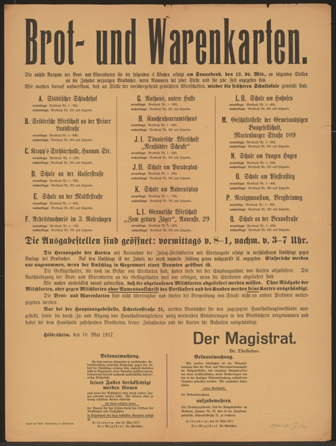 Maßnahmen zur Lebensmittelversorgung - Brot- und Warenkarten - Bekanntmachung - Hildesheim