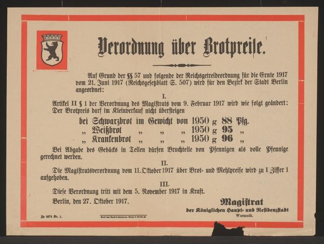 Maßnahmen zur Lebensmittelversorgung - Brotpreise - Verordnung - Berlin