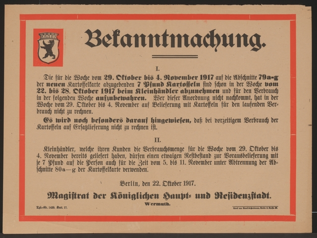 Maßnahmen zur Lebensmittelversorgung - Kartoffeln - Bekanntmachung - Berlin